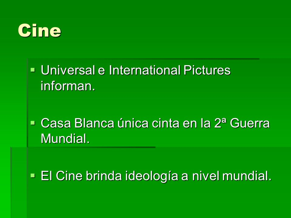 Cine Universal e International Pictures informan.