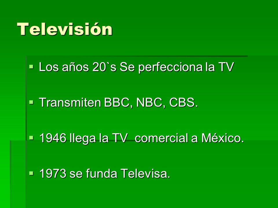 Televisión Los años 20`s Se perfecciona la TV