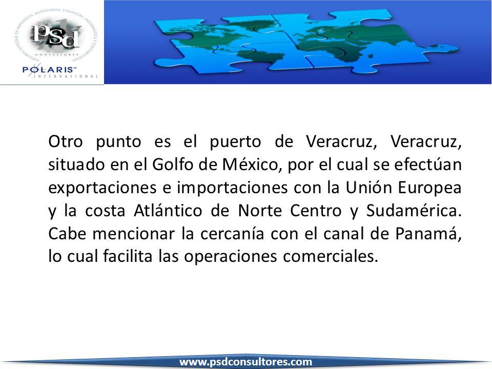 Otro punto es el puerto de Veracruz, Veracruz, situado en el Golfo de México, por el cual se efectúan exportaciones e importaciones con la Unión Europea y la costa Atlántico de Norte Centro y Sudamérica. Cabe mencionar la cercanía con el canal de Panamá, lo cual facilita las operaciones comerciales.