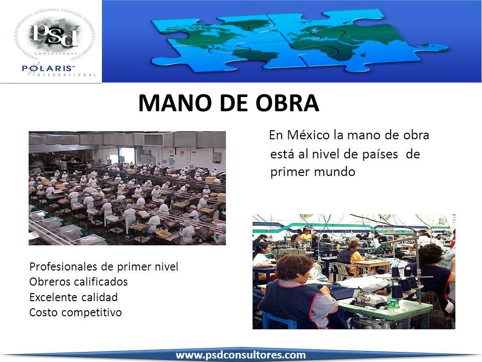 MANO DE OBRA En México la mano de obra está al nivel de países de