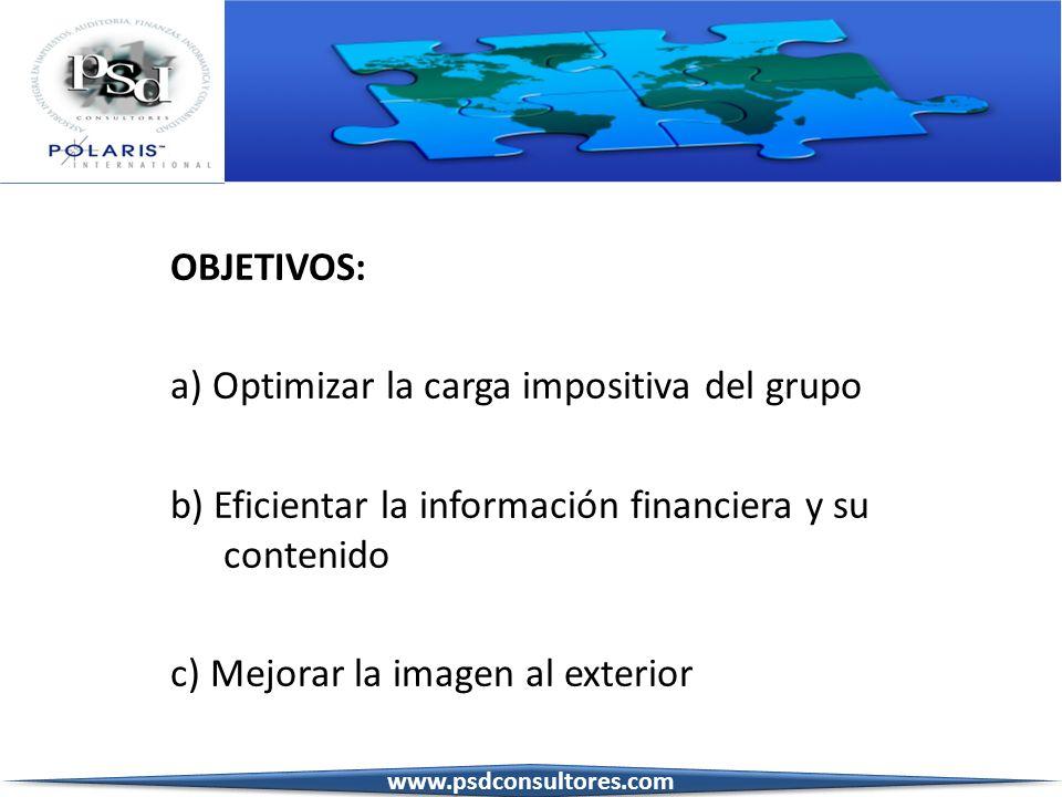 a) Optimizar la carga impositiva del grupo