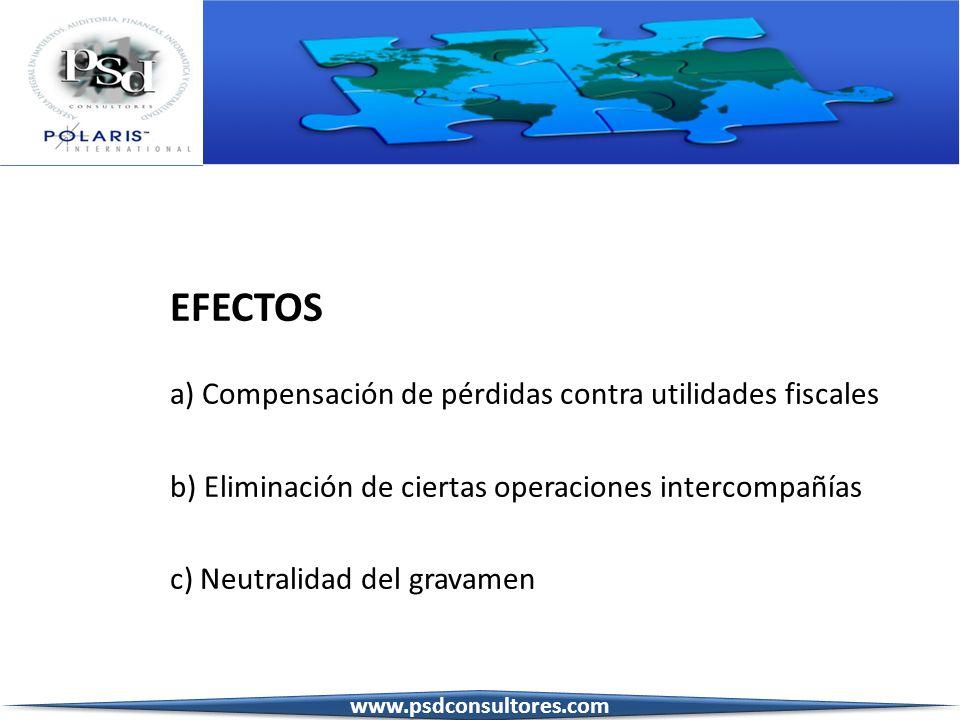 EFECTOS a) Compensación de pérdidas contra utilidades fiscales
