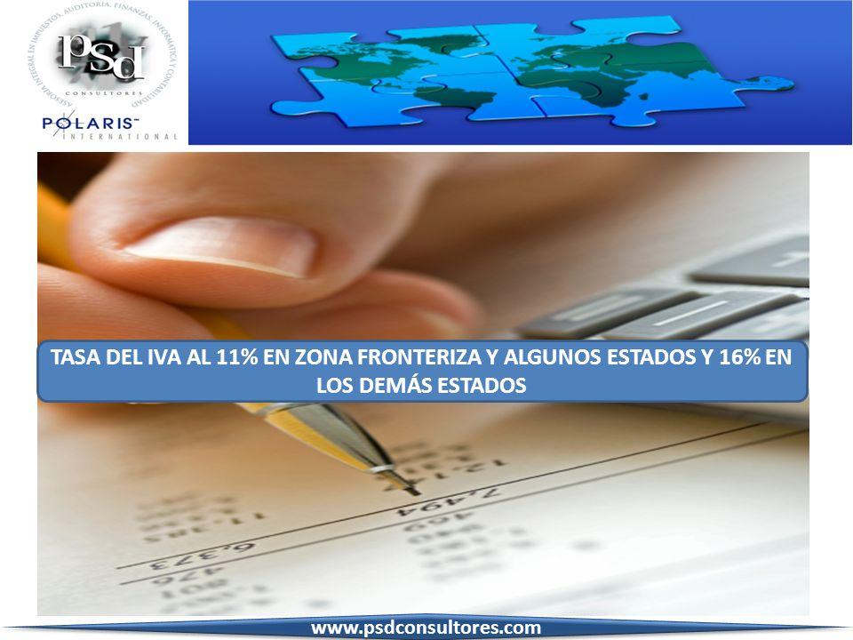 TASA DEL IVA AL 11% EN ZONA FRONTERIZA Y ALGUNOS ESTADOS Y 16% EN LOS DEMÁS ESTADOS