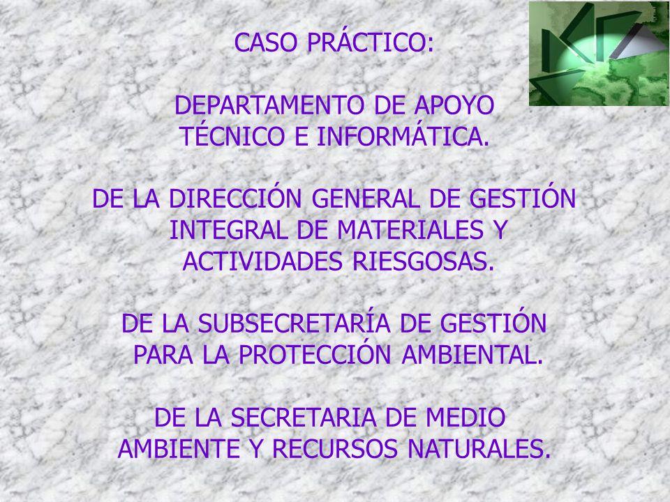 DE LA DIRECCIÓN GENERAL DE GESTIÓN INTEGRAL DE MATERIALES Y
