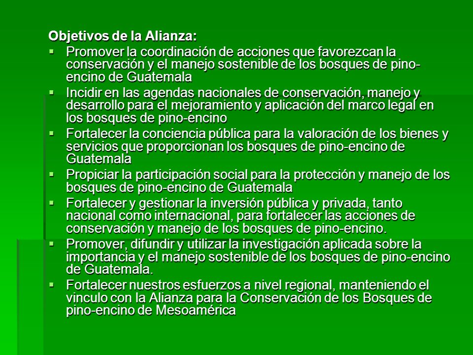 Objetivos de la Alianza: