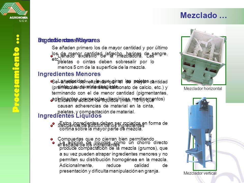 Procesamiento … Mezclado … Se debe considerar… Ingredientes Mayores