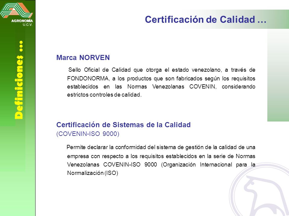 Definiciones … Certificación de Calidad … Marca NORVEN