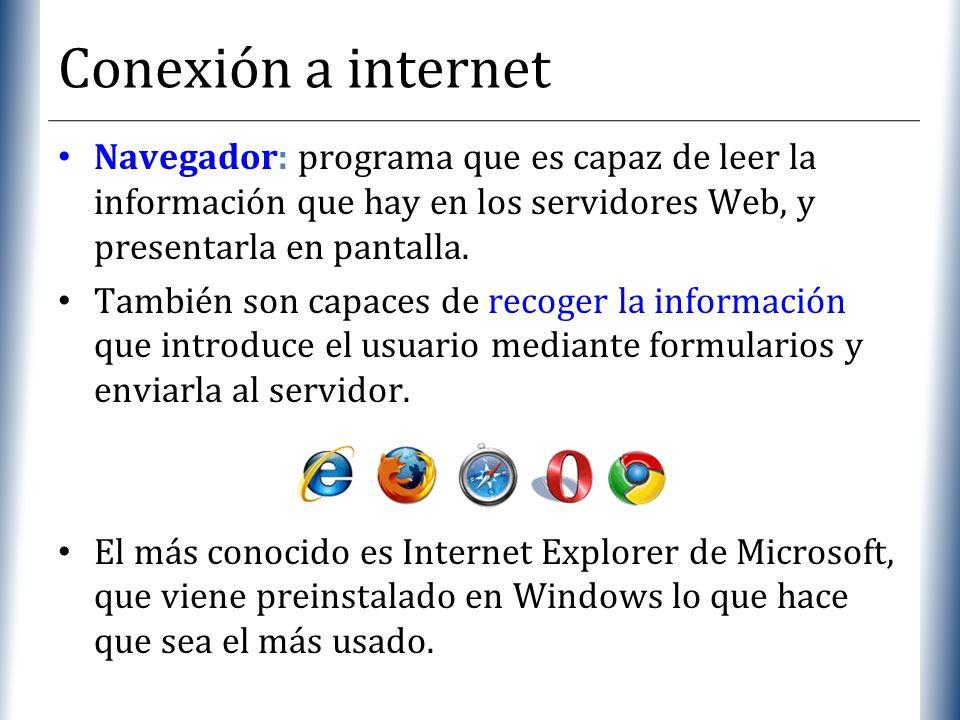Conexión a internetNavegador: programa que es capaz de leer la información que hay en los servidores Web, y presentarla en pantalla.