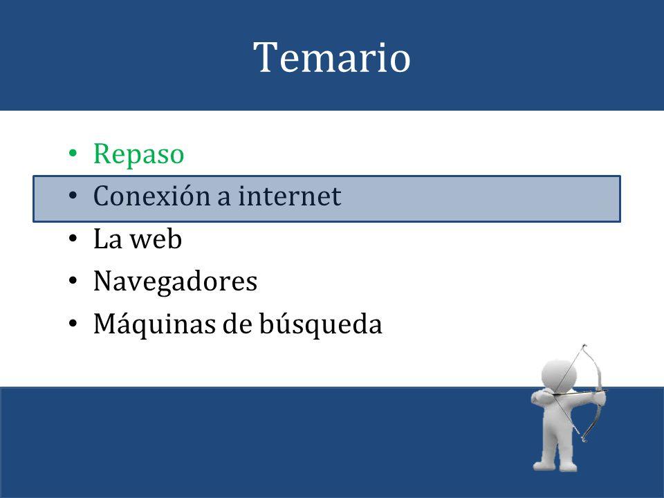 Temario Repaso Conexión a internet La web Navegadores
