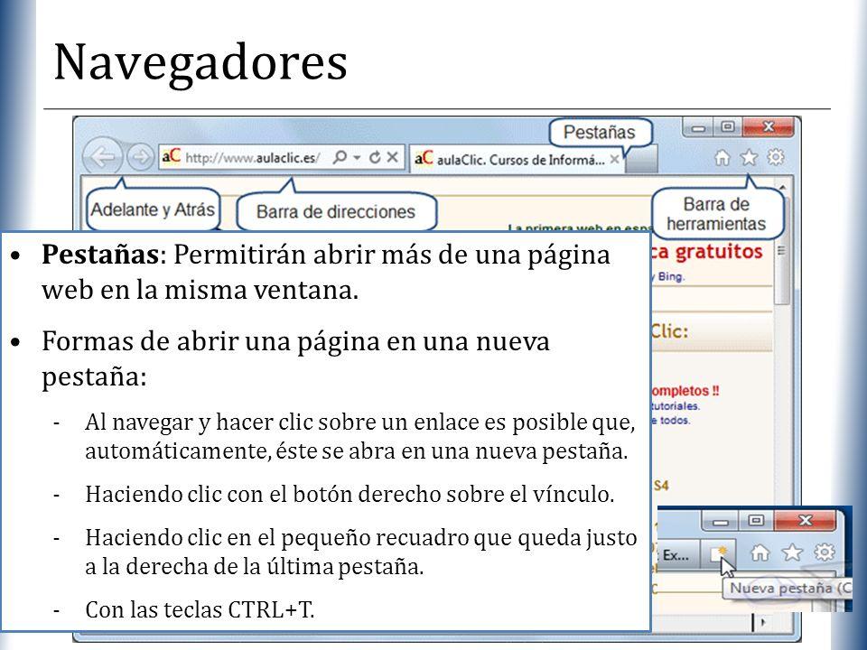 Navegadores Pestañas: Permitirán abrir más de una página web en la misma ventana. Formas de abrir una página en una nueva pestaña: