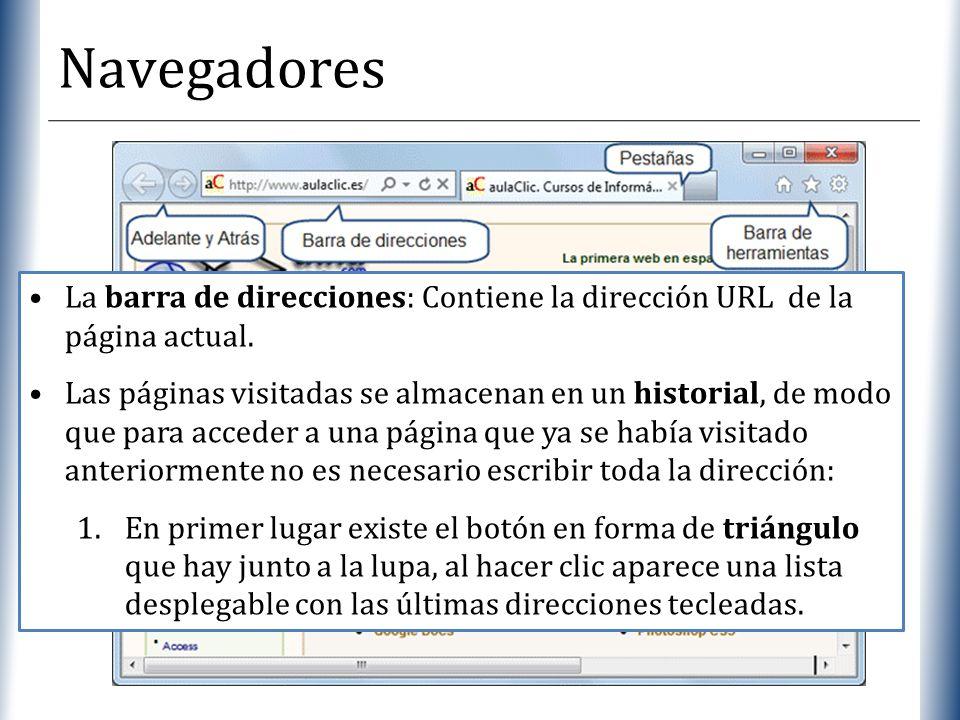Navegadores La barra de direcciones: Contiene la dirección URL de la página actual.