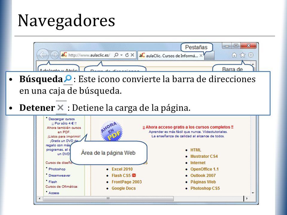 Navegadores Búsqueda : Este icono convierte la barra de direcciones en una caja de búsqueda.