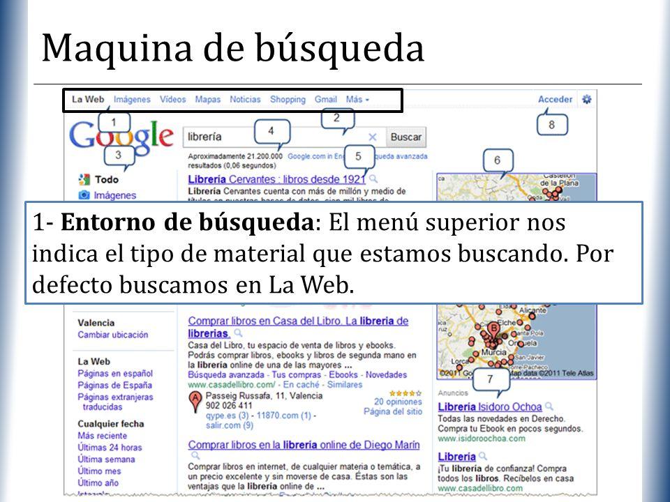 Maquina de búsqueda1- Entorno de búsqueda: El menú superior nos indica el tipo de material que estamos buscando.