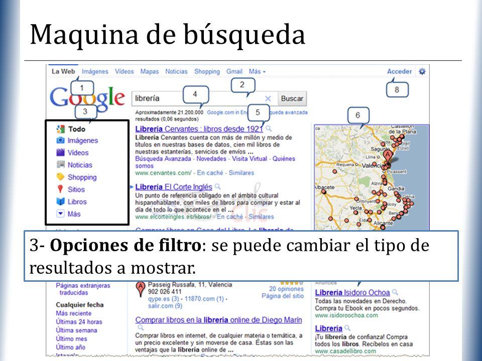Maquina de búsqueda 3- Opciones de filtro: se puede cambiar el tipo de resultados a mostrar.