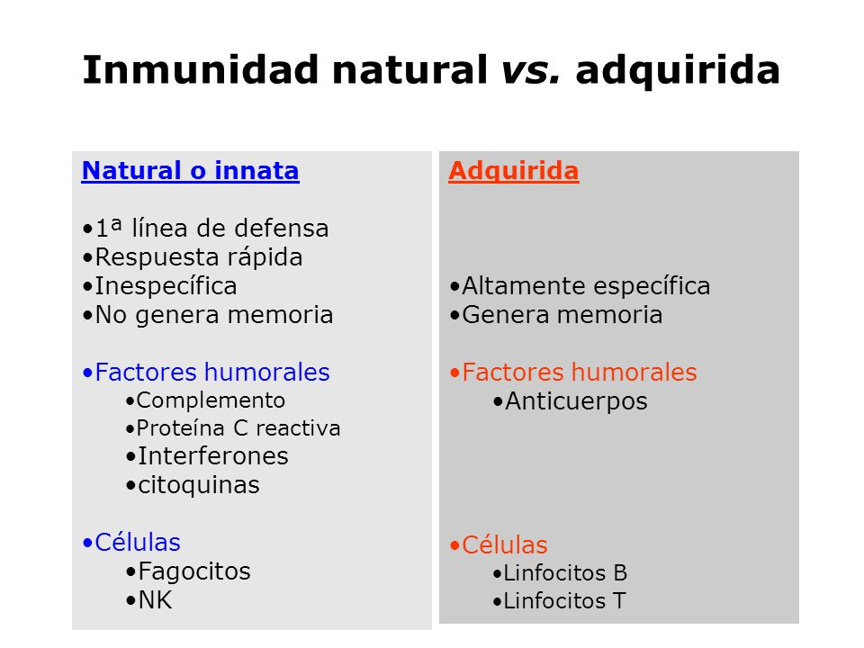 Inmunidad natural vs. adquirida