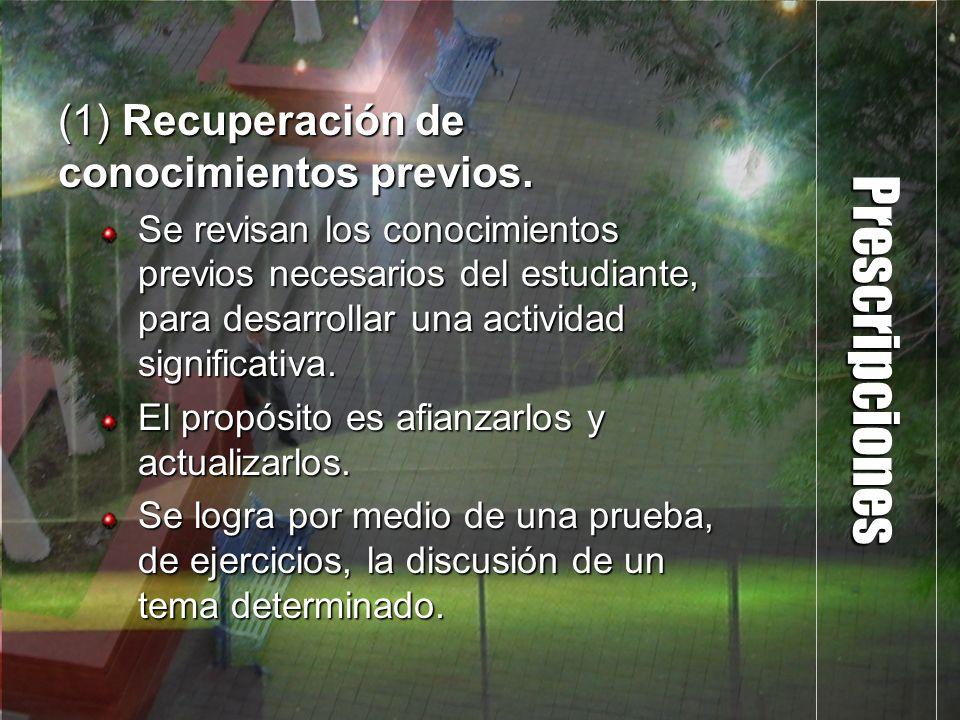 Prescripciones (1) Recuperación de conocimientos previos.