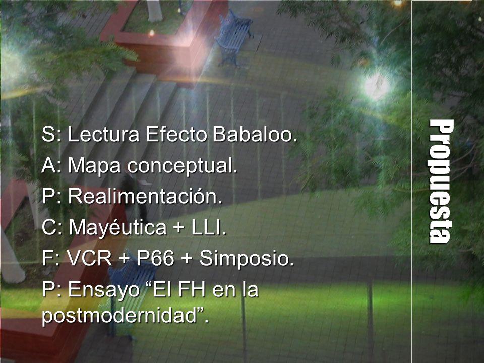 Propuesta S: Lectura Efecto Babaloo. A: Mapa conceptual.