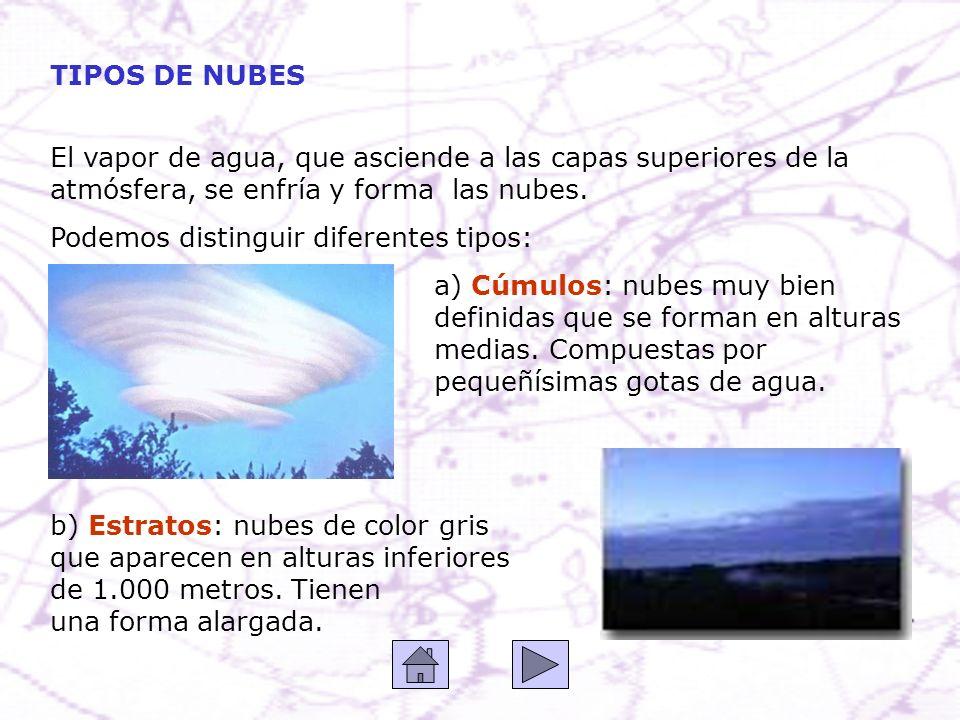 TIPOS DE NUBES El vapor de agua, que asciende a las capas superiores de la atmósfera, se enfría y forma las nubes.