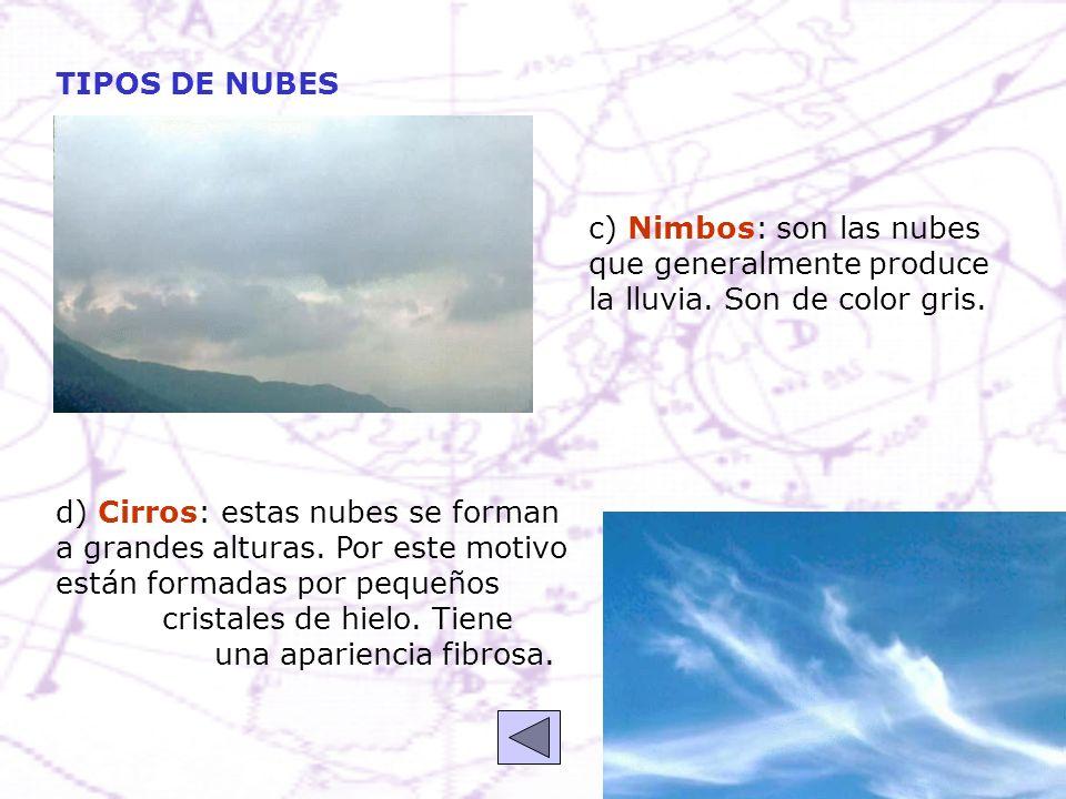 TIPOS DE NUBES c) Nimbos: son las nubes que generalmente produce la lluvia. Son de color gris.