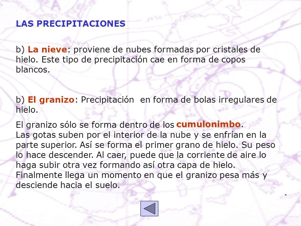 LAS PRECIPITACIONES b) La nieve: proviene de nubes formadas por cristales de hielo. Este tipo de precipitación cae en forma de copos blancos.