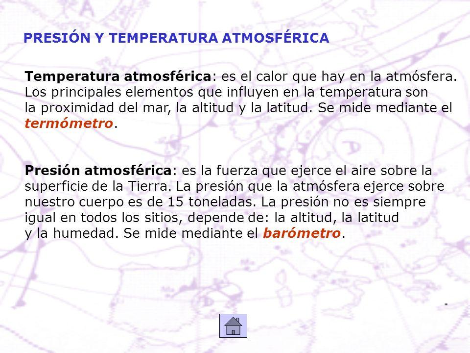 PRESIÓN Y TEMPERATURA ATMOSFÉRICA