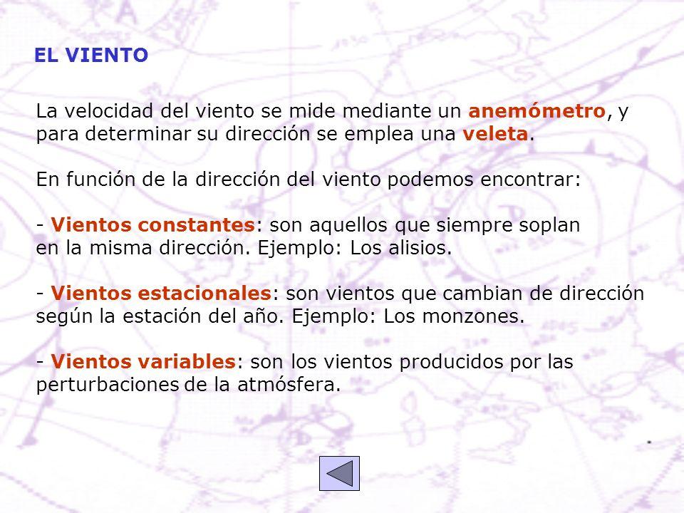 EL VIENTO La velocidad del viento se mide mediante un anemómetro, y. para determinar su dirección se emplea una veleta.
