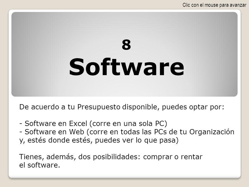 Software 8 De acuerdo a tu Presupuesto disponible, puedes optar por: