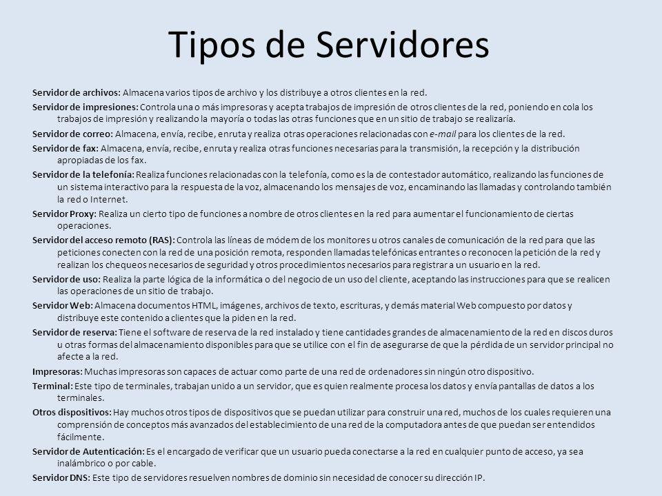Tipos de Servidores Servidor de archivos: Almacena varios tipos de archivo y los distribuye a otros clientes en la red.