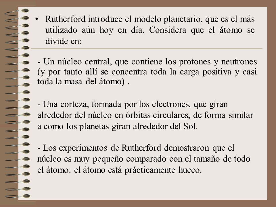 Rutherford introduce el modelo planetario, que es el más utilizado aún hoy en día. Considera que el átomo se divide en: