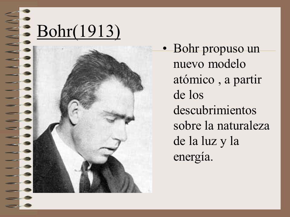 Bohr(1913) Bohr propuso un nuevo modelo atómico , a partir de los descubrimientos sobre la naturaleza de la luz y la energía.
