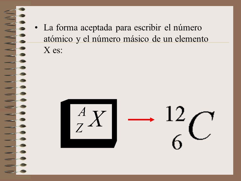 La forma aceptada para escribir el número atómico y el número másico de un elemento X es: