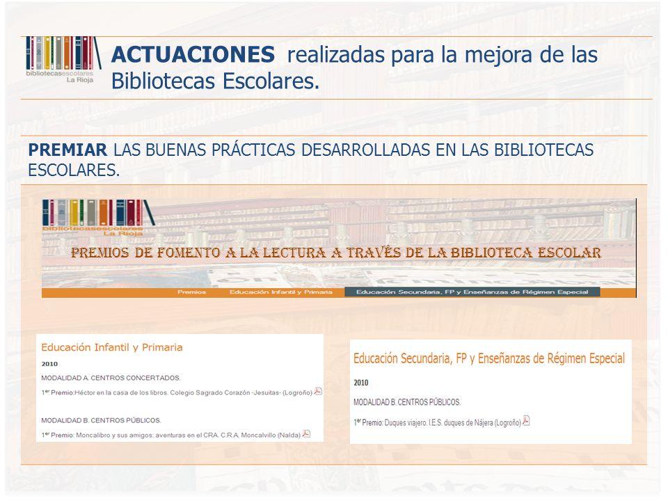 PREMIOS DE FOMENTO A LA LECTURA A TRAVÉS DE LA BIBLIOTECA ESCOLAR