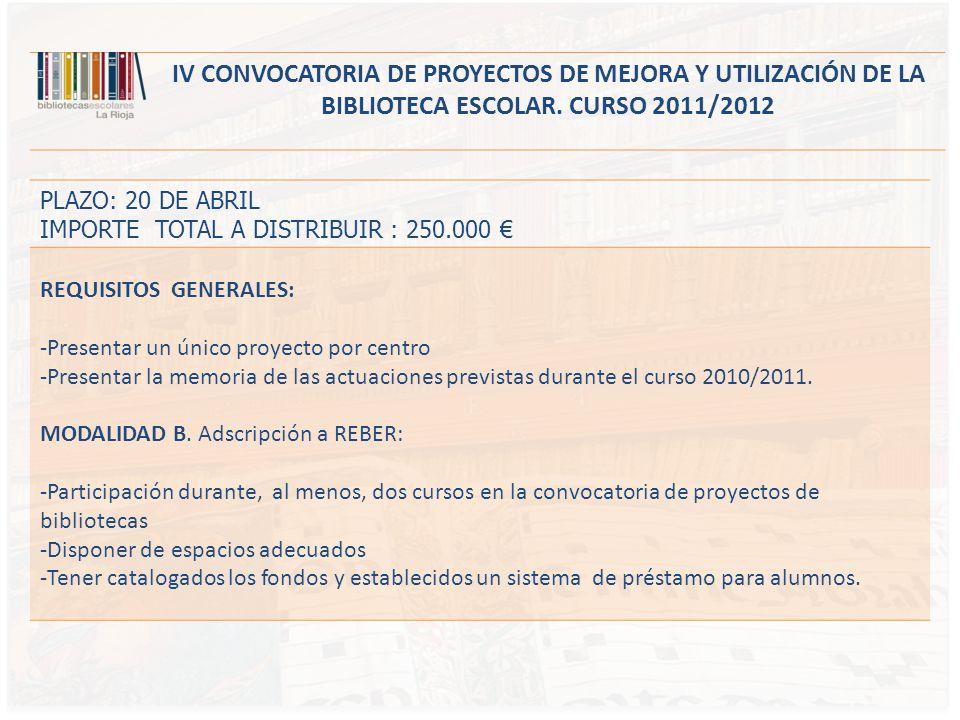 IV CONVOCATORIA DE PROYECTOS DE MEJORA Y UTILIZACIÓN DE LA BIBLIOTECA ESCOLAR. CURSO 2011/2012