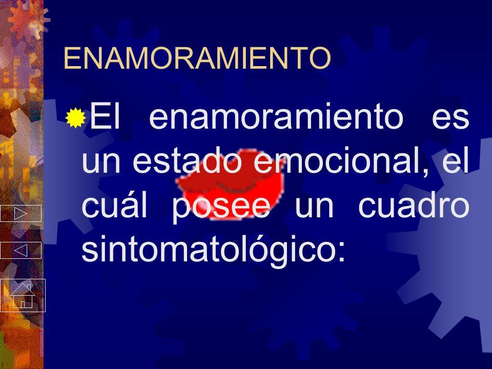 ENAMORAMIENTO El enamoramiento es un estado emocional, el cuál posee un cuadro sintomatológico:
