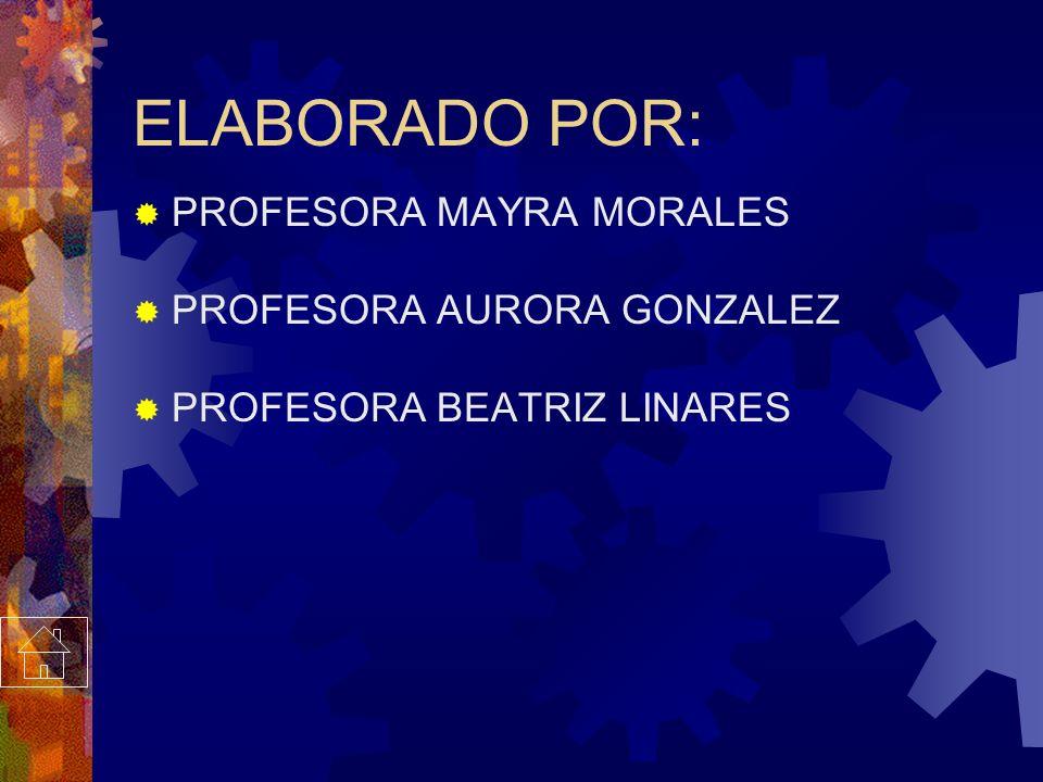 ELABORADO POR: PROFESORA MAYRA MORALES PROFESORA AURORA GONZALEZ