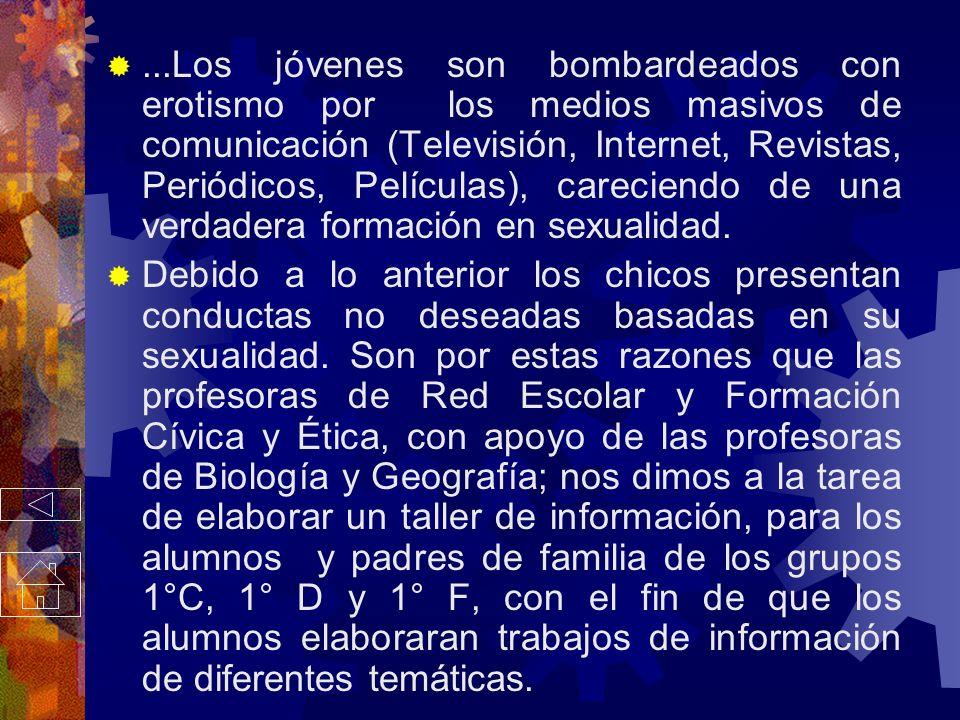 ...Los jóvenes son bombardeados con erotismo por los medios masivos de comunicación (Televisión, Internet, Revistas, Periódicos, Películas), careciendo de una verdadera formación en sexualidad.
