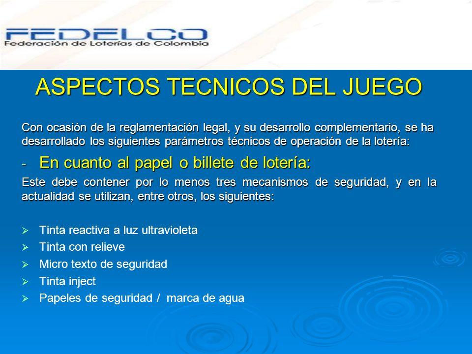 ASPECTOS TECNICOS DEL JUEGO