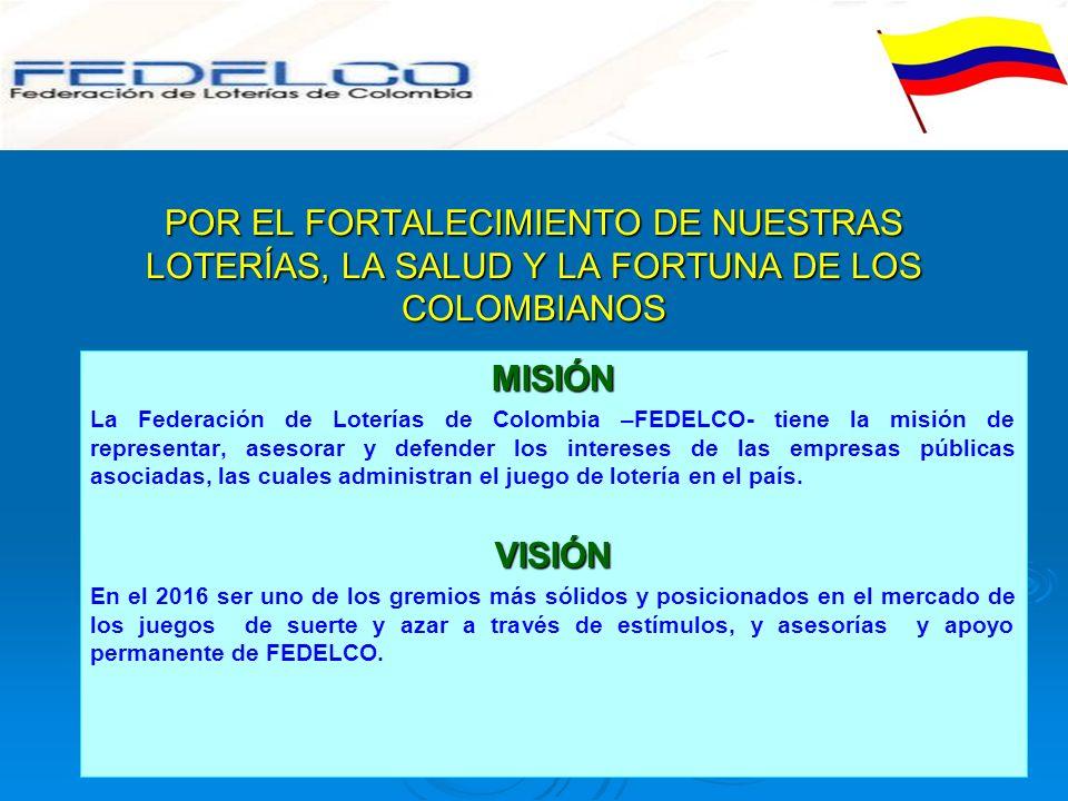 POR EL FORTALECIMIENTO DE NUESTRAS LOTERÍAS, LA SALUD Y LA FORTUNA DE LOS COLOMBIANOS