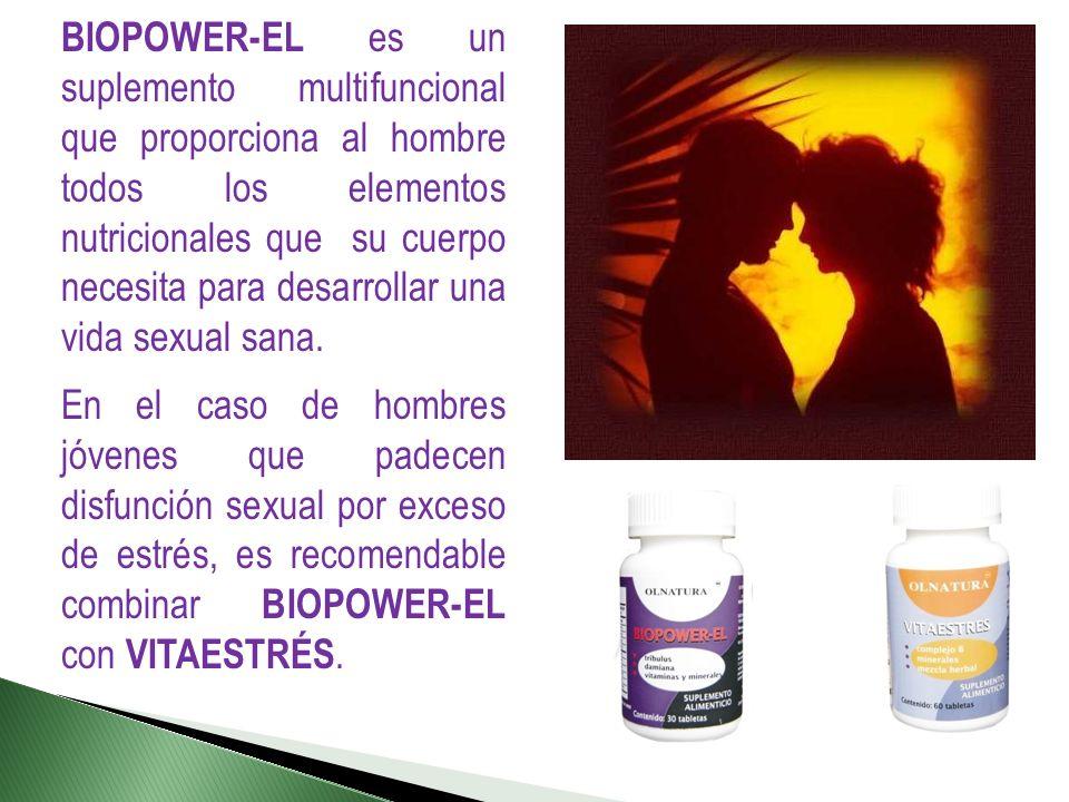BIOPOWER-EL es un suplemento multifuncional que proporciona al hombre todos los elementos nutricionales que su cuerpo necesita para desarrollar una vida sexual sana.