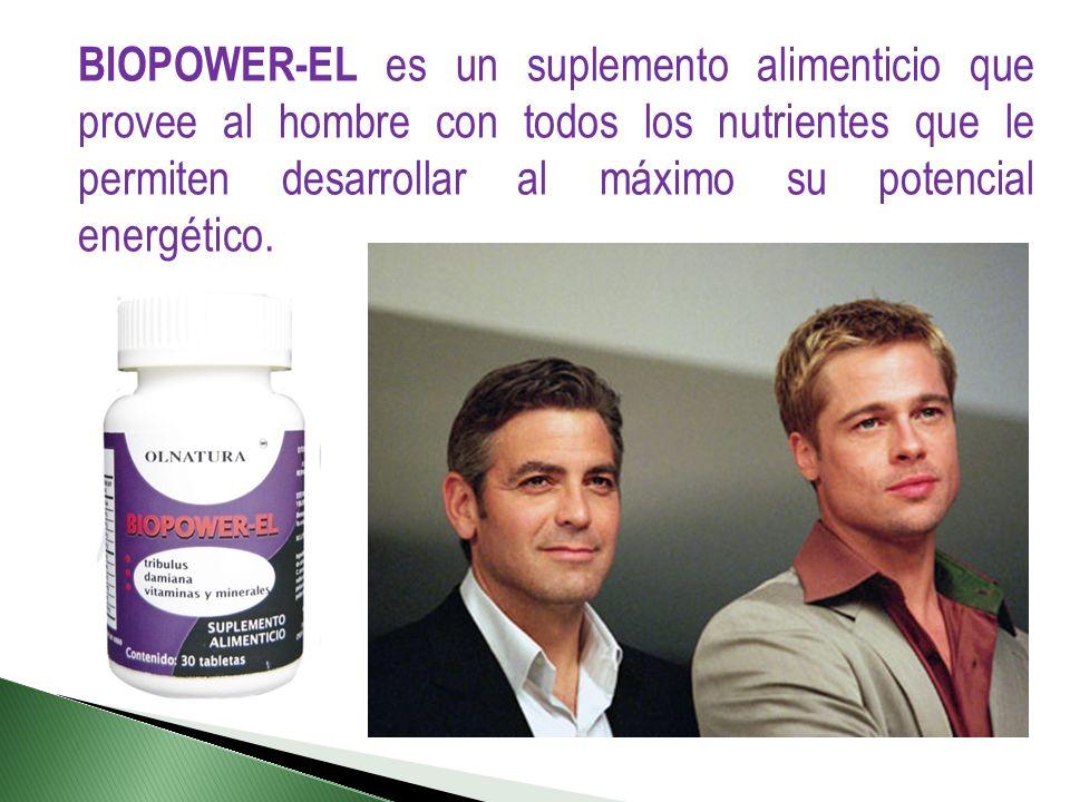 BIOPOWER-EL es un suplemento alimenticio que provee al hombre con todos los nutrientes que le permiten desarrollar al máximo su potencial energético.