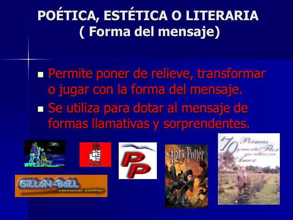 POÉTICA, ESTÉTICA O LITERARIA ( Forma del mensaje)