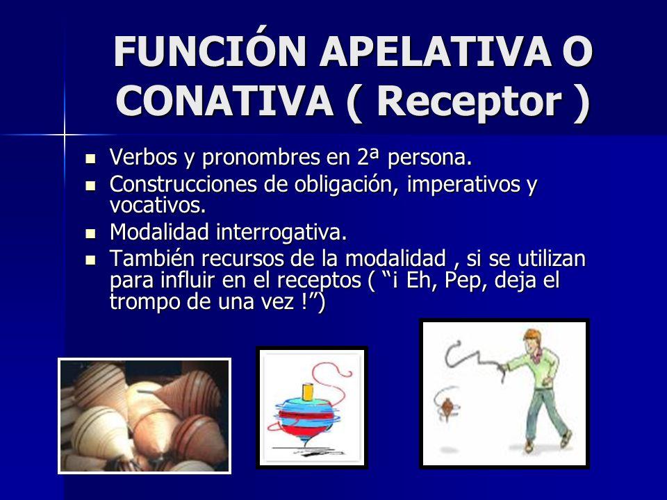 FUNCIÓN APELATIVA O CONATIVA ( Receptor )