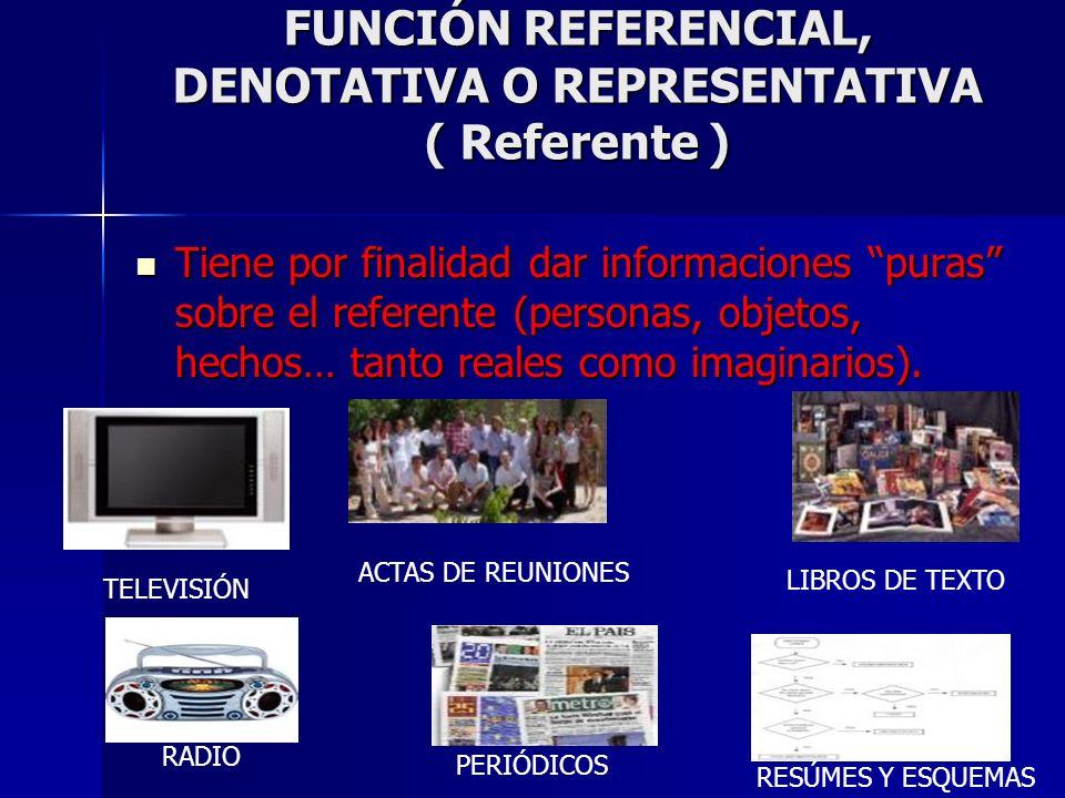FUNCIÓN REFERENCIAL, DENOTATIVA O REPRESENTATIVA ( Referente )