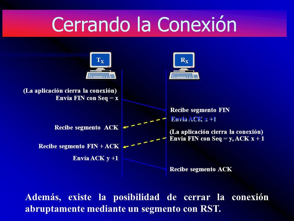 Cerrando la Conexión TX. RX. Envía FIN con Seq = x. (La aplicación cierra la conexión) Recibe segmento FIN.