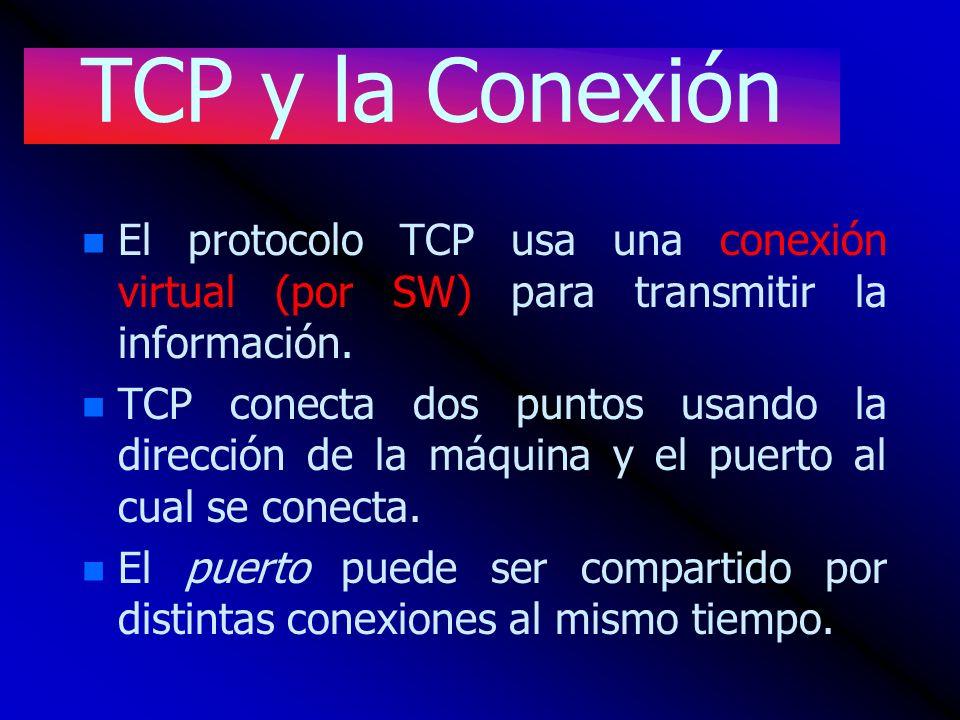 TCP y la Conexión El protocolo TCP usa una conexión virtual (por SW) para transmitir la información.