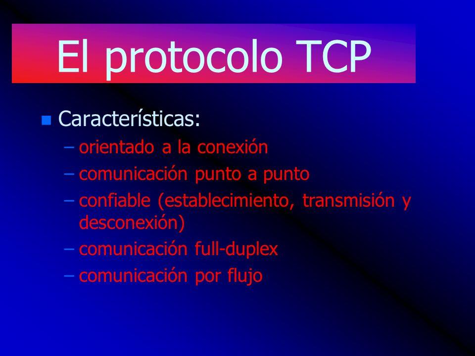 El protocolo TCP Características: orientado a la conexión