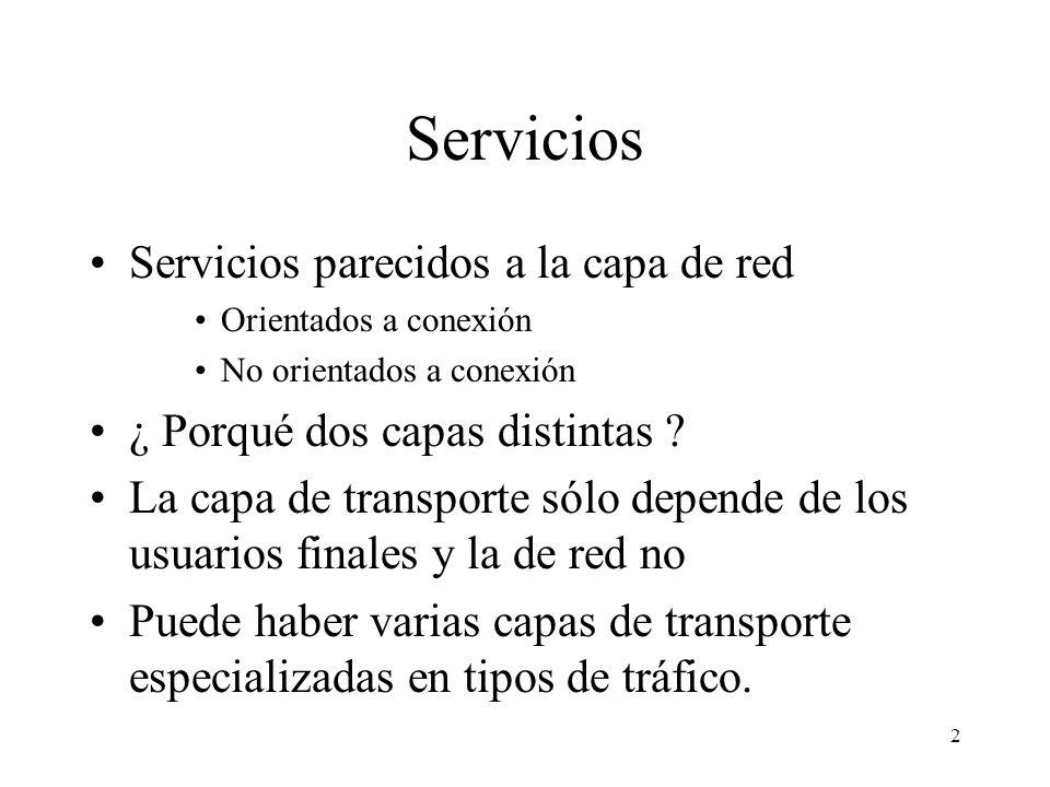 Servicios Servicios parecidos a la capa de red