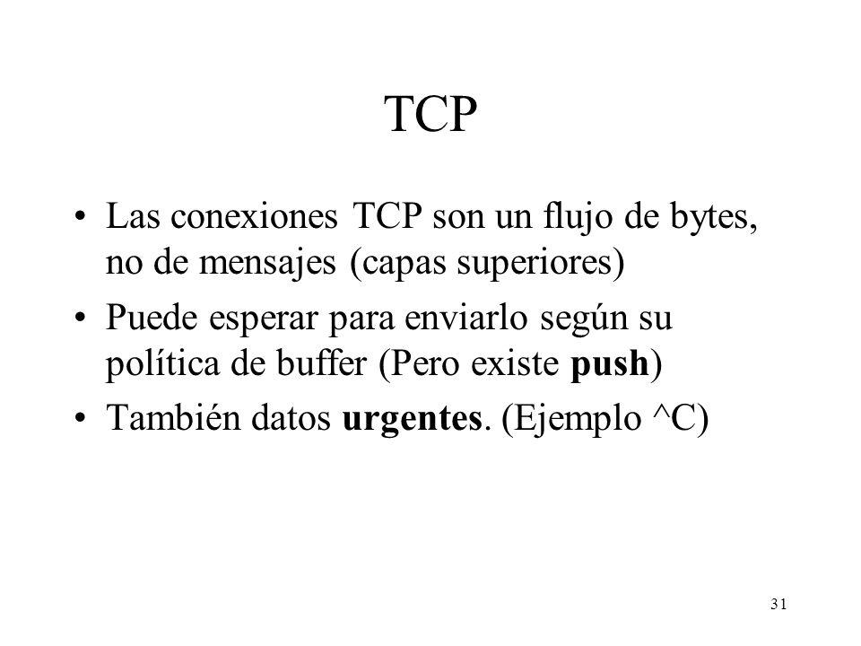 TCP Las conexiones TCP son un flujo de bytes, no de mensajes (capas superiores)