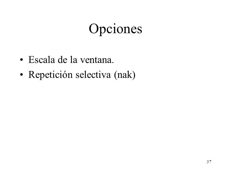 Opciones Escala de la ventana. Repetición selectiva (nak)