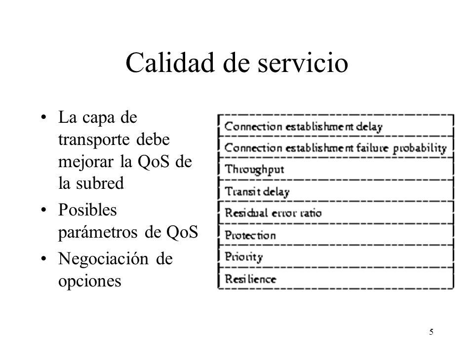 Calidad de servicio La capa de transporte debe mejorar la QoS de la subred. Posibles parámetros de QoS.